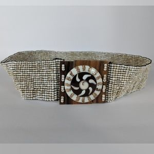 Stretch Beaded Belt Sun Painted Shell Wood Buckle